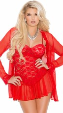 Lace Chemise and Robe - Red