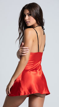 Charmeuse Chemise with Lace Trim - Red