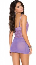 Delicate Purple Lace Chemise - Purple