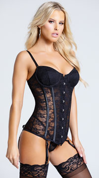 Seductive Lace-Up Bustier - Black