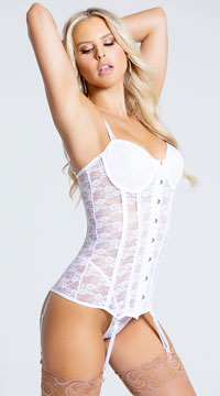 Seductive Lace-Up Bustier - White
