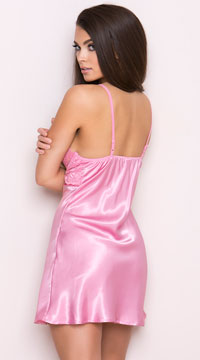 Pink Satin and Lace Babydoll - Pink