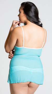 Plus Size Blue Mesh and White Lace Babydoll Set - as shown
