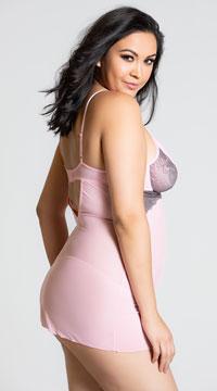 Plus Size Flirty Pink Mesh Babydoll Set - as shown