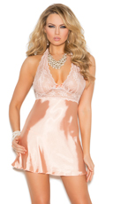 Just Peachy Satin and Lace Babydoll Set - Peach