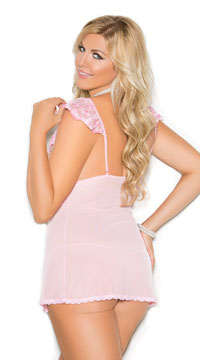 Plus Size Embroidered Satin Babydoll Set - Pink