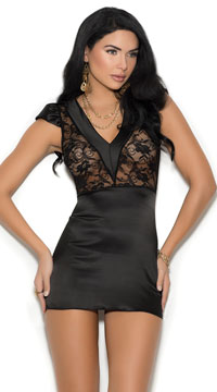 Sophisticated Charmeuse Chemise - Black