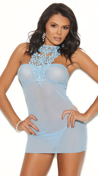 Plus Size High Neck Hottie Chemise Set - Light Blue