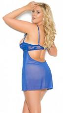 Plus Size Cupless Babydoll Set - Royal Blue