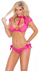 Hot Pink Lace Bra And Panty Set - Raspberry