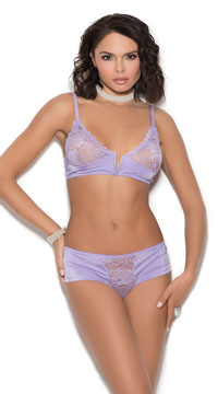 Floral Lace Bralette Set - Lilac