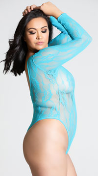 Plus Size Long Sleeve Stretch Lace Deep-V Teddy - Teal