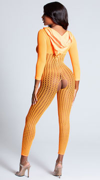 Neon Orange Crochet Bodystocking - Neon Orange