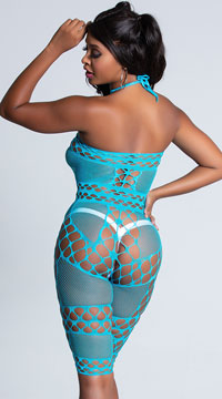 Mid-Length Crochet and Fishnet Bodystocking - Turquoise