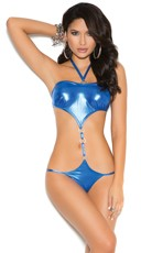 Metallic Cut Out G-String Teddy - Royal Blue