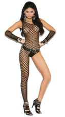 Asymmetrical Crochet Bodystocking with Gloves - Black