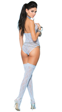 Open Cup Blue Lace Teddy and Stockings Set - Baby Blue