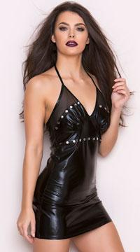 Wet Look Studded Mini Dress - Black