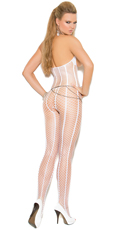 White Open Cup Fishnet Bodystocking - White