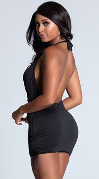 Deep V Halter Mini Dress - Black