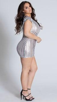 Plus Size See Right Thru You Cut Out Metallic Dress - Silver