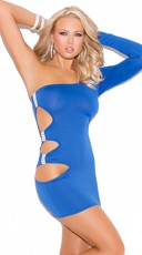 Royal Blue One Sleeve Mini Dress - Blue