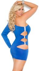 Plus Size Royal Blue One Sleeve Mini Dress - Blue