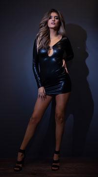 Secrets in the Night Long Sleeve Wet Look Dress - Black