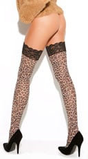 Animal Print Thigh Highs - Leopard Print