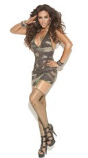 Camo Mini Dress with Garters - Camouflage