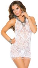 Crochet and Fringe Mini Dress - White
