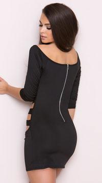 Strappy Black Cage Mini Dress - Black