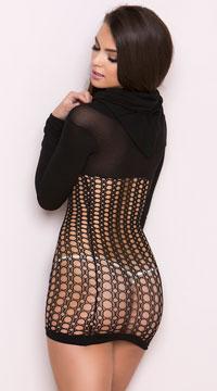 Hooded Crochet Mini Dress - Black