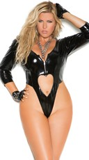 Plus Size Vinyl Thong Teddy With Heart Cut Outs - Black
