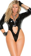 Plus Size Vinyl Thong Teddy With Heart Cut Outs - as shown