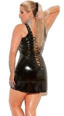 Plus Size Vinyl Mini Dress - Black