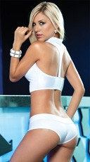 Snap Up Top and Booty Short Set - White