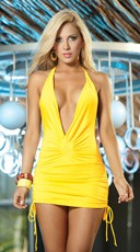 Low Cut Cinched Mini Dress - Yellow