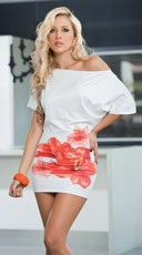White Floral Mini Dress - White