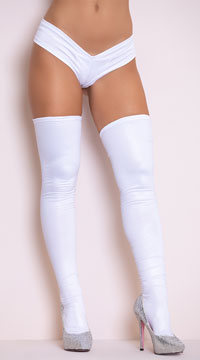 Sexy Metallic Thigh High Stockings - White
