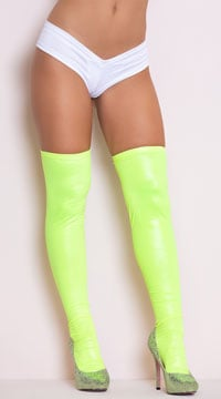 Sexy Metallic Thigh High Stockings - Hot Green