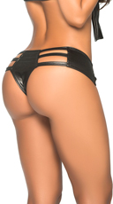 Wet Look Strappy Thong Hipster - Wet Black