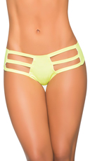 Wet Look Strappy Thong Hipster - Wet Green
