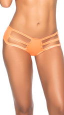 Wet Look Strappy Thong Hipster - Wet Orange