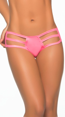 Wet Look Strappy Thong Hipster - Wet Pink