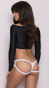 Cage Back Thong Panty - White