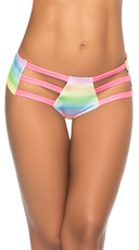Glow Printed Triple Strap Hipster Panty - Rainbow