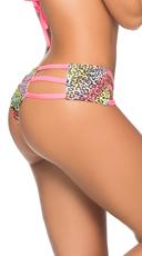 Glow Printed Triple Strap Hipster Panty - Cheetah Print