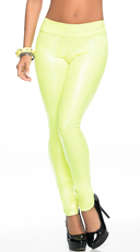Shiny Opaque Leggings - Hot Green
