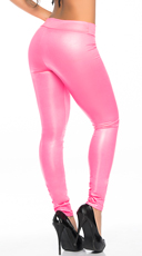 Shiny Opaque Leggings - Hot Pink